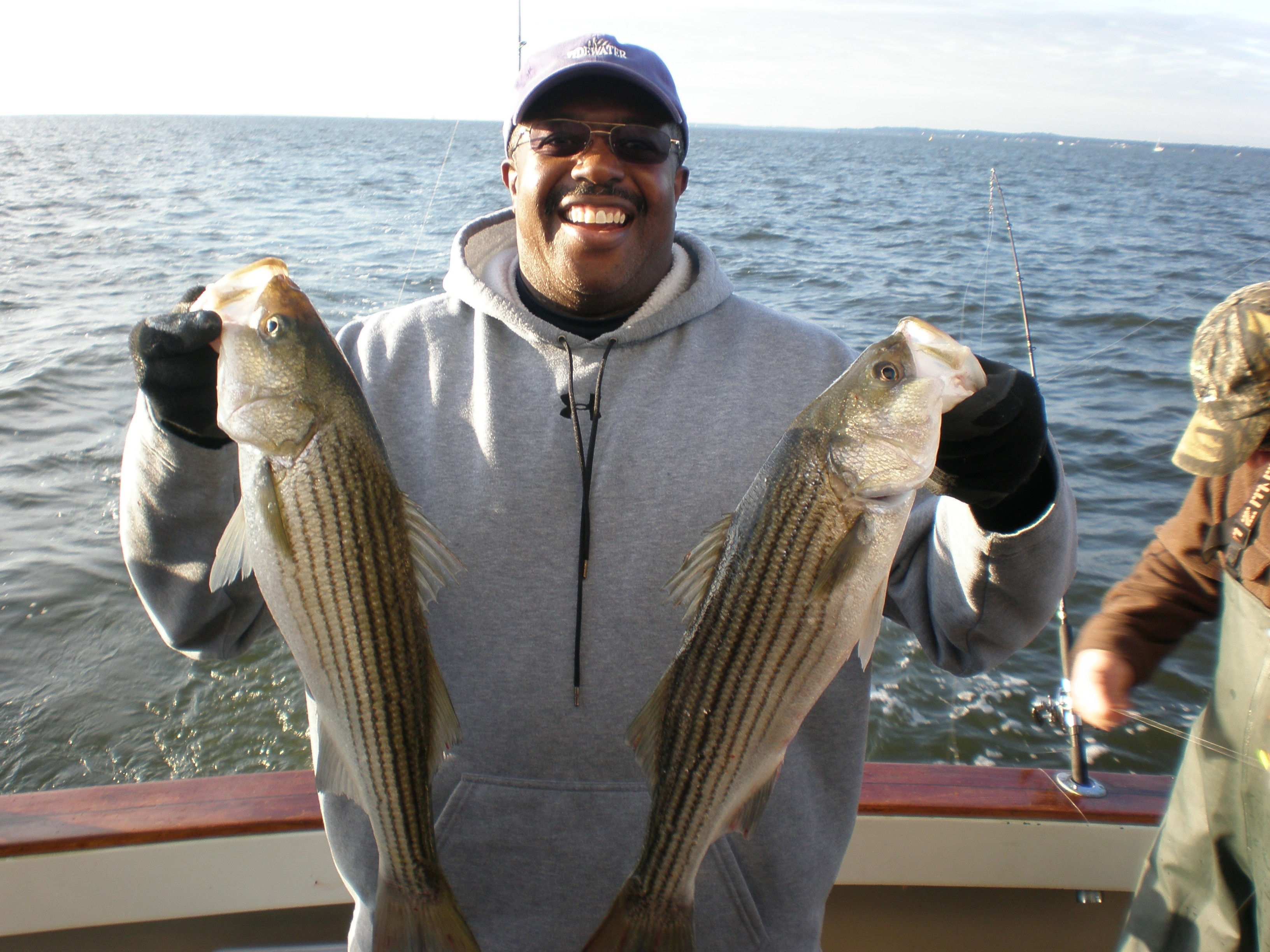 2 Striper Fish Caught on Boat